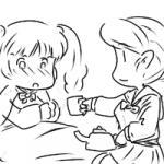 プリルラさんが慰めてくれましたの……蜂蜜ミルクおいしい……