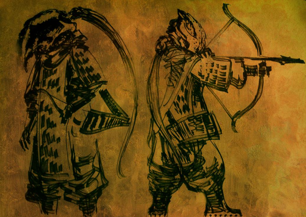 鵬の頭蓋、鵬の弓を装備した弓兵。